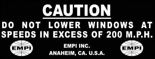 Caution 200 M.P.H. Sticker