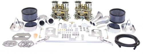 EMPI Deluxe Dual 40mm HPMX Type 1Carburetor Kit with Chrome Air Cleaners